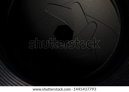 Camera lens,Macro of an iris,Camera - Photographic Equipment, Lens - Optical Instrument, Circle, Metal, Single Object #1445437793