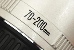Camera lens marking on macro, telephoto 70-200mm lens close up photo