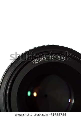 Camera lens on a white background with space for text