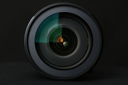 Camera Lens on the black background
