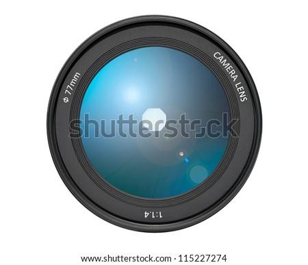 Camera Lens on White Background