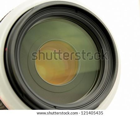 Camera lens on white background.