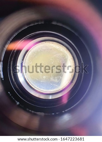 Camera lens with lens reflection. Inside the object.
