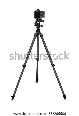 Camera on tripod isolated on white