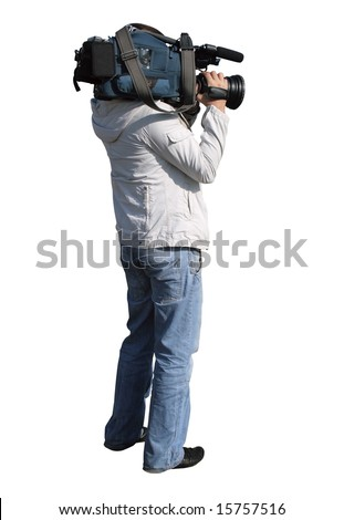 Camera operator shoot a film. Cameraman, isolated on white background