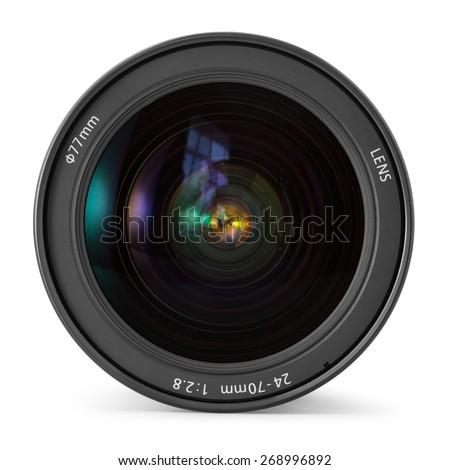 camera photo lens over white...