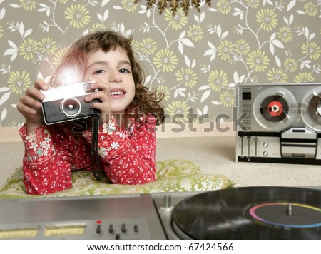camera retro photo little girl in vintage room wallpaper