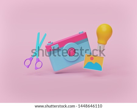 camera, scissors, photo and light bulb isolated on pastel pink background. photo editing and photography ideas concept. 3d rendering