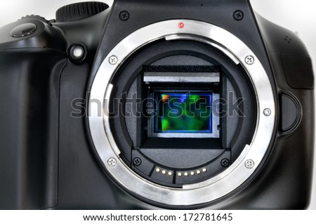 Camera sensor CCD or Cmos closeup