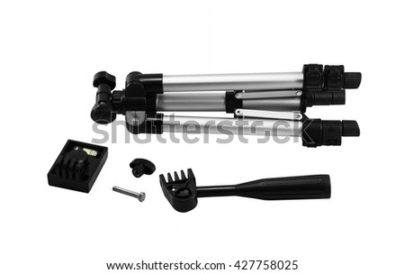 Camera stand tripod put apart with isolated on white background   #427758025