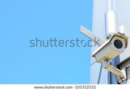 Camera system on building