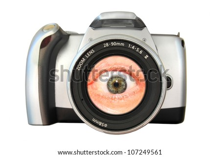 Camera with an eye in the zoom lens. Concept: An eye for photography