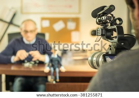Cameraman is filming a movie scene