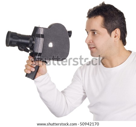 Cameraman isolated on white background