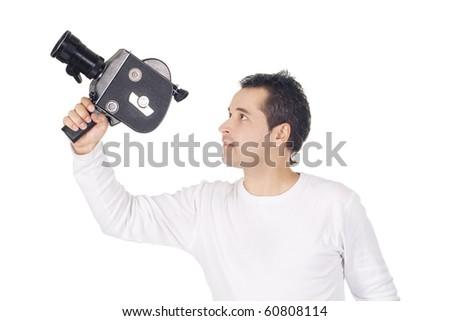 Cameraman isolated on white background
