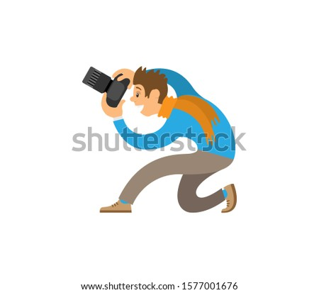 Cameraman making picture, powerful zoom device raster isolated. Photographers taking photo with modern digital cameras sitting on knee or floor.