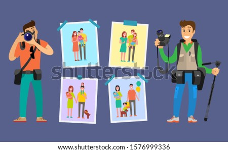 Cameraman making pictures of parents and children. Samples of studio works hanging on wall raster. Family photographers with digital cameras taking photos