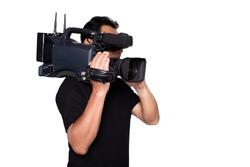 Cameraman senior broadcasting isolated white background