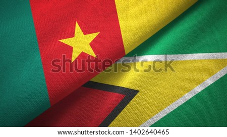 Cameroon and Guyana two flags textile cloth, fabric texture #1402640465