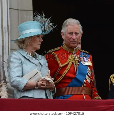 Camilla Duchess of Cornwall and Charles, the Prince of Wales attend the Trooping Of The Colour at Horse Guards Parade, London, UK. June 16, 2012, Picture: Catchlight Media / Featureflash