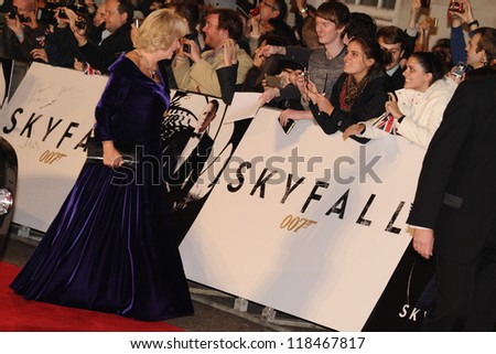 Camilla, Duchess of Corwall arriving for the Royal World Premiere of 'Skyfall' at Royal Albert Hall, London. 23/10/2012 Picture by: Steve Vas