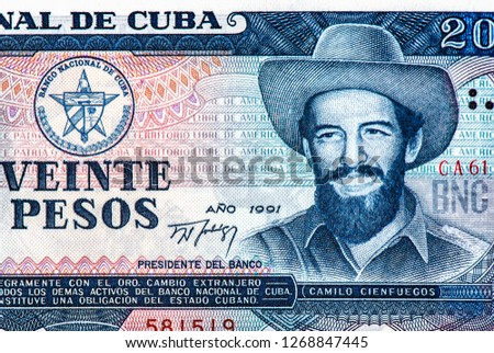 Camilo Cienfuegos (1932-1959) on 20 Pesos 2006 Banknote from Cuba. Cuban revolutionary. Cuban pesos bank note in the national currency of Cuban, Close Up UNC Uncirculated - Collection.