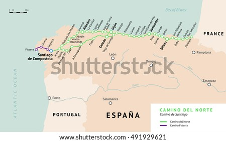 Shutterstock Camino del Norte map. Camino De Santiago or The Way of St.James. Ancient pilgrimage path to the Santiago de Compostella on the north of Spain.