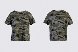 camo female t-shirt Isolated on white background front and back rear view on invisible mannequin