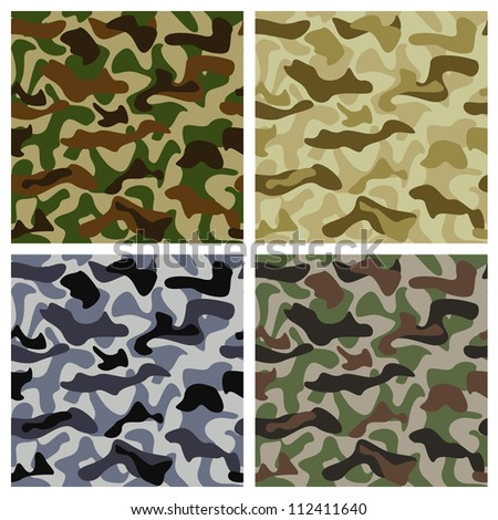 Camouflage background of different colors with classic pattern