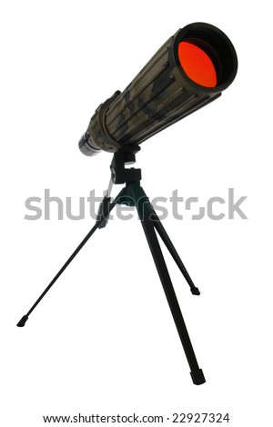 Camouflage color wildlife viewing monocular spotting scope on a tripod isolated on white