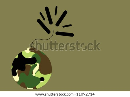 camouflage pattern with bomb