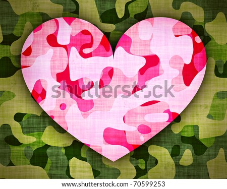 camouflage - pink heart on green