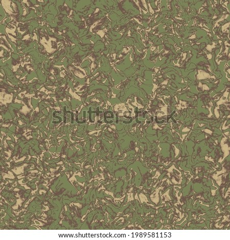 Camouflage print, wave tile, seamless ebru pattern. Military urban liquid marble camo texture.  Army or hunting green and brown colors. Wallpaper for textile and fabric. Illustration Stok fotoğraf ©