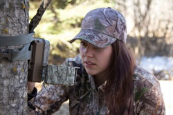 Camouflage Trail Cameras Girl Hunting
