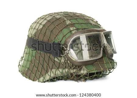 camouflaged helmet with protective goggles isolated on white background