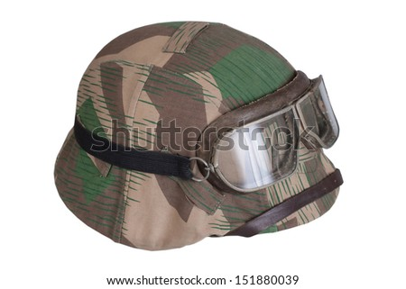 camouflaged nazi german helmet with protective goggles