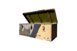 Camouflaged open army iron box for tools and weapons. Military transport chest isolated on white background
