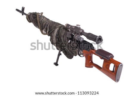 camouflaged sniper rifle - stock photo