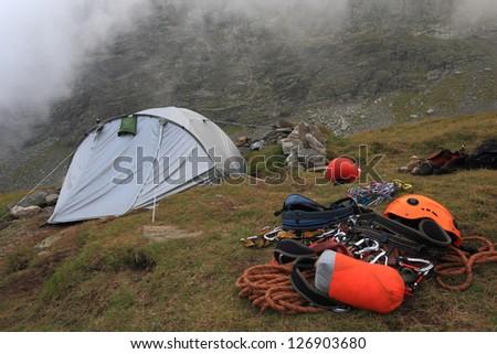 Camp and climbing gear, Fagaras mountains, Romania