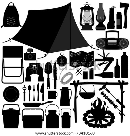 Camp Camping Picnic Recreational Jungle Survivor Tool Equipment Silhouette - stock photo
