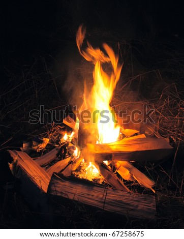 Camp fire in night