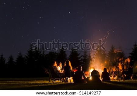 camp fire in summer