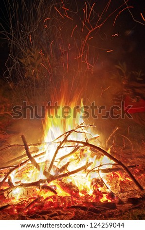 Camp fire in the night on the mountain