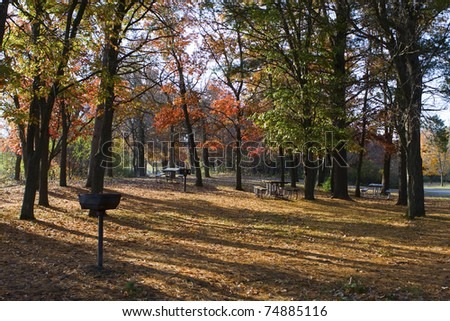 Camp ground set in the autumn colors.