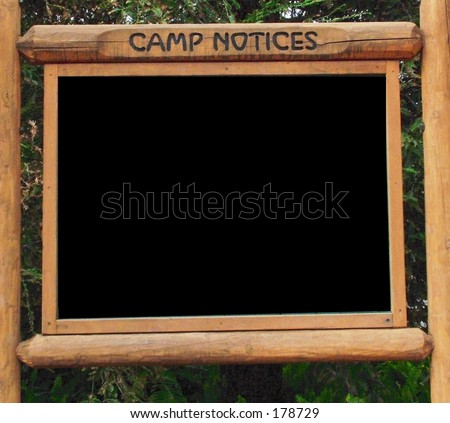 Camp ground sign board, blank for your message, photos