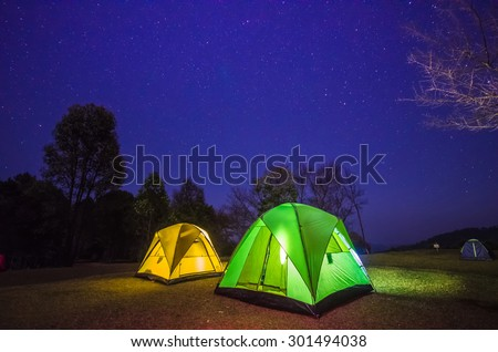 camp in forest at night with star #301494038