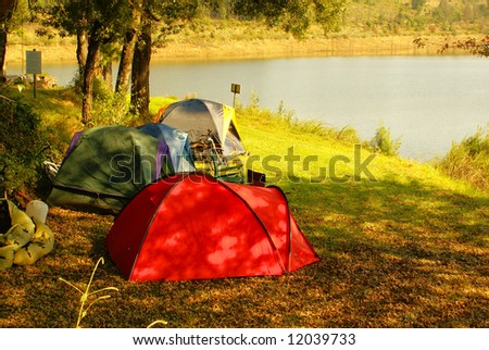 Camp site by lake