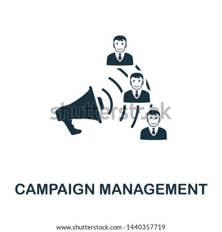 Campaign Management icon illustration. Creative sign from crm icons collection. Filled flat Campaign Management icon for computer and mobile. Symbol, logo graphics.