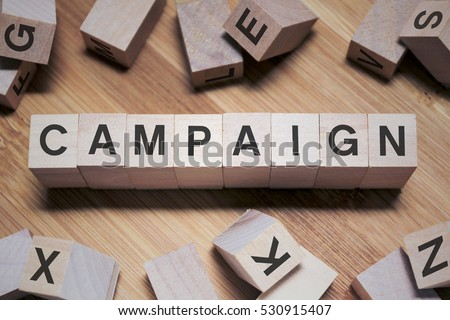 Campaign Word In Wooden Cube