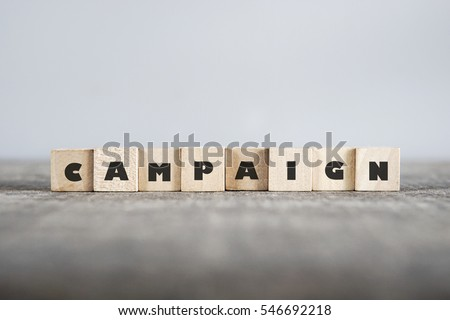 CAMPAIGN word made with building blocks